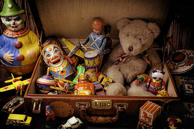 Old Toys In Suitcase Art Print
