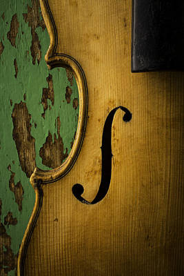 Beaten Up Photograph - Old Violin Against Green Wall by Garry Gay