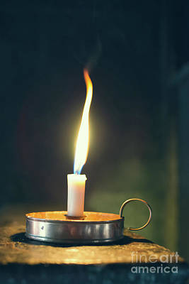Old Wax Burning Candle Art Print