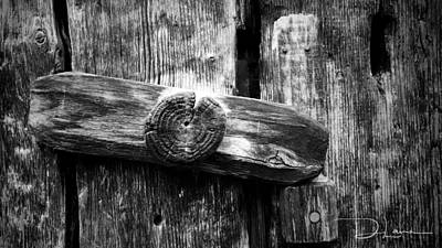 Photograph - Old Wooden Latch Bw by David A Lane