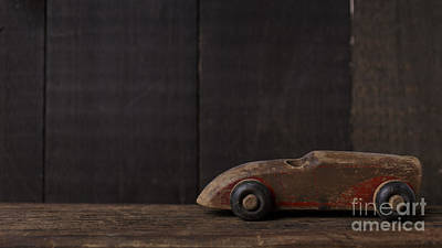 Toy Car Photograph - Old Wooden Toy Car by Edward Fielding