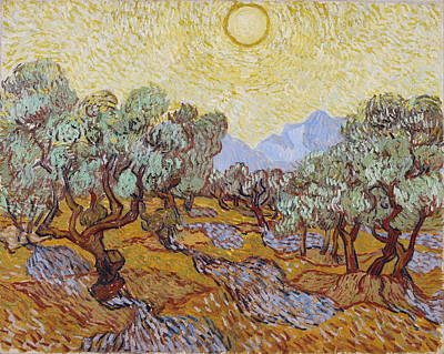 Tuscan Sunset Painting - Olive Trees With Yellow Sky And Sun, 1889 by Vincent Van Gogh