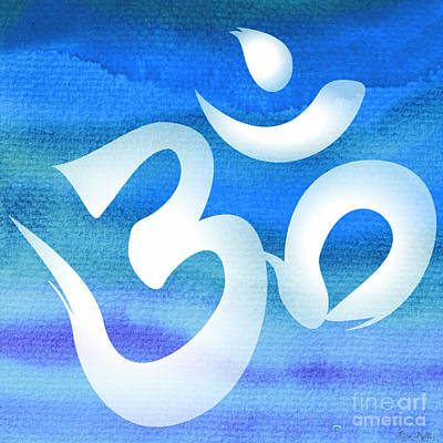 Digital Art - Om Symbol. Blue And White by Lita Kelley