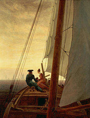 On A Sailing Ship Art Print by Caspar David Friedrich