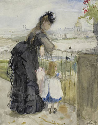 Railing Painting - On The Balcony by Berthe Morisot