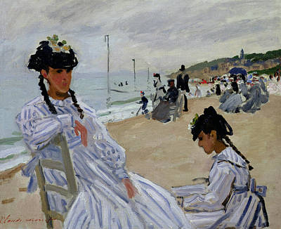 Painting - On The Beach At Trouville by Claude Monet