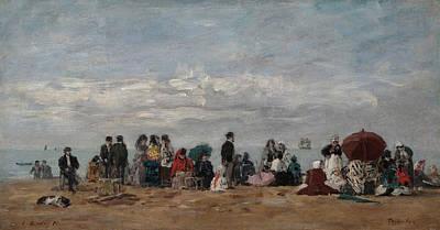 On The Beach Art Print by Eugene Boudin