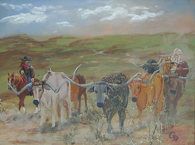 Gail Daley Wall Art - Painting - On The Chisholm Trail by Gail Daley