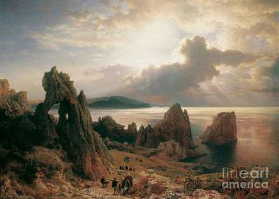 Capri Painting - on the coast of CAPRI by MotionAge Designs