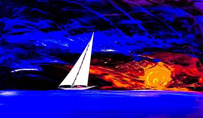 Wall Art - Painting - On The Edge Of Sunset  by Barry Knauff
