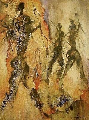 Pictograph Painting - On The Hunt by Ingrid  Albrecht