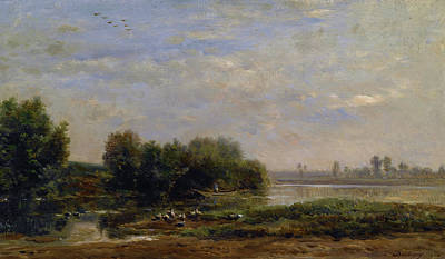 Realist Painting - On The Oise by Charles-Francois Daubigny