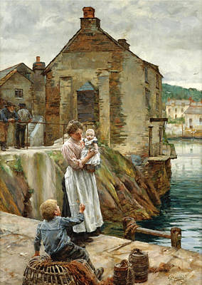 On The Quay Newlyn Painting - On The Quay. Newlyn by Walter Langley