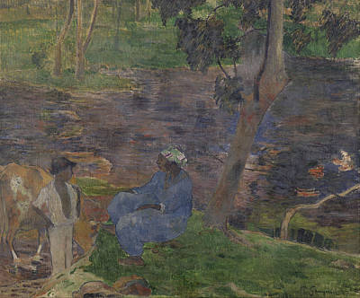 Painting - On The Shore Of The Lake At Martinique by Paul Gauguin