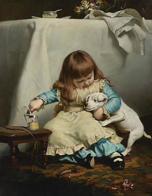 Charles Burton Barber Painting - Once Bit Twice Shy by Charles Burton Barber
