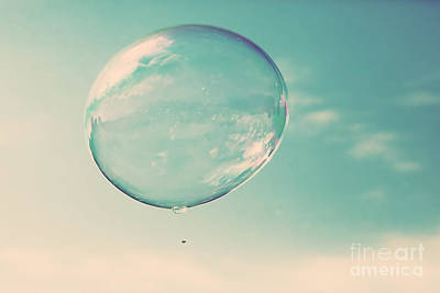 Bubbles Photograph - One Clean Soap Bubble Flying In The Air by Michal Bednarek