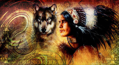 Indian Tribal Art Painting - One Dollar Collage With Indian Man Warrior With Wolf Ornament Background by Jozef Klopacka
