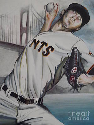 Tim Lincecum Painting - One Giant Pitch by Maggie Marquis