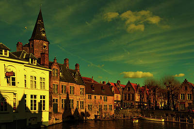 A Summer Evening Photograph - One Of The Picturesque View Old Belgian City Of Bruges  by George Westermak