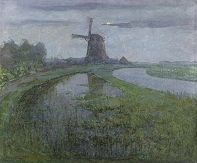 Piet Painting - Oostzijdse Mill Along The River Gein By Moonlight by Piet Mondrian