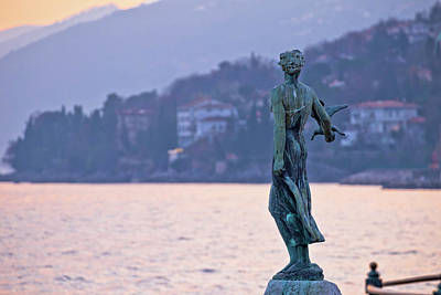 Photograph - Opatija Bay Statue At Sunset View by Brch Photography