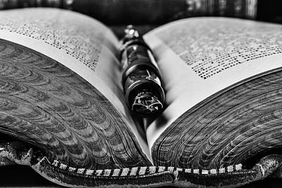 Knowledge Photograph - Open Book With Fountain Pen Black And White by Garry Gay