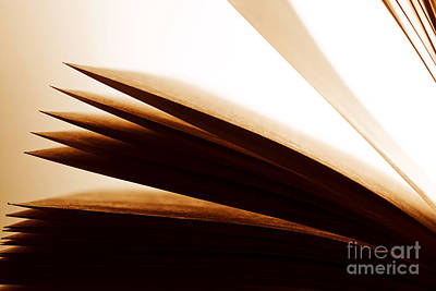 Objects Photograph - Open Old Book With Pages Fluttering by Michal Bednarek