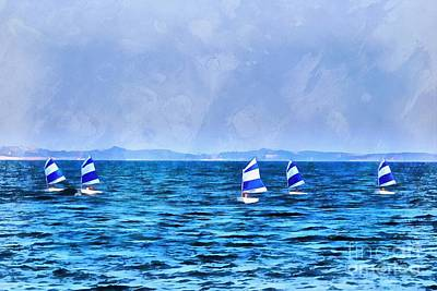 Painting - Optimist Sailing Boats by George Atsametakis