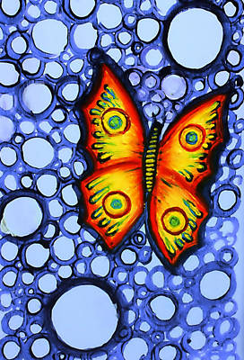 Orange Butterfly Art Print by Brenda Higginson