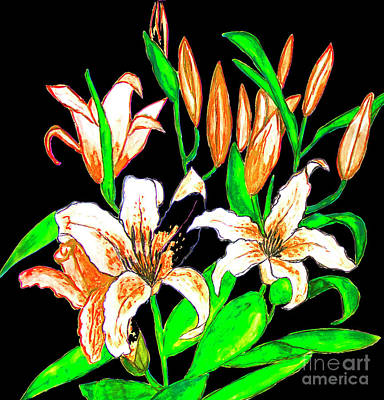 Painting - Orange Lilies, Painting by Irina Afonskaya