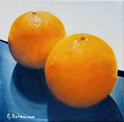 Painting - Orange, Noir Et Blanc by Muriel Dolemieux
