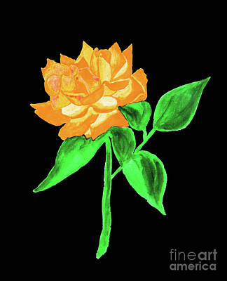 Painting - Orange Rose, Painting by Irina Afonskaya