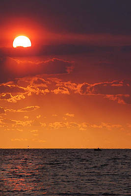 Photograph - Orange Sunset Over Oyster Bay by Michael Thomas