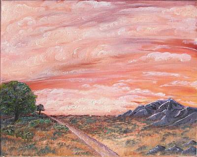Landscape Painting - Orange Sunset by Outside the door By Patt