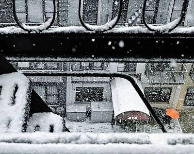 Photograph - Orange Umbrella In The Snow - Winter In New York by Miriam Danar
