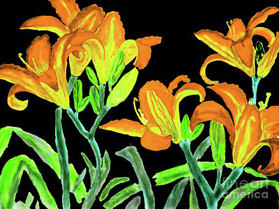 Painting - Orange-yellow Lilies by Irina Afonskaya