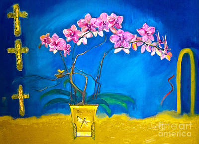Online Shopping Painting - Orchid by Karen Francis