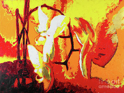 Wall Art - Painting - Orchids On Red P3 by Anatoli Titarenko