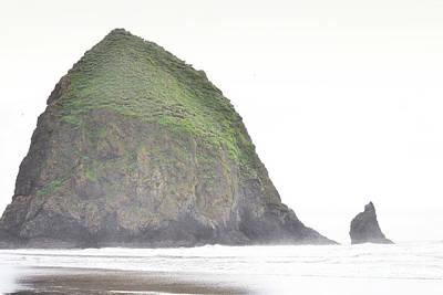 Oregon Haystack Rock Ocean Landscape Art Print by Andrea Hazel Ihlefeld