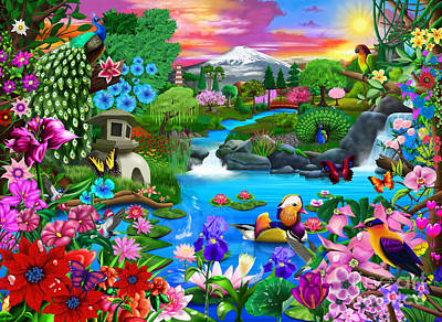 Koi Digital Art - Oriental Paradise by Gerald Newton