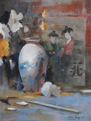 Painting - Oriental Vase With Flowers by Noe Peralez