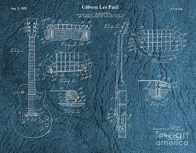 Digital Art - Original 1955 Gibson Les Paul Patent  by Doc Braham