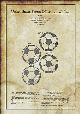 Digital Art - Original 1964 Vintage Soccer Ball Patent  by Doc Braham