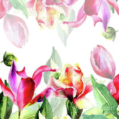 Invitation Mixed Media - Original Floral Background With Flowers by Regina Jershova
