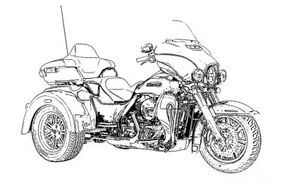 Drawing - Original Motorcycle Portrait, Gift For Biker, Black And White Art by Pablo Franchi