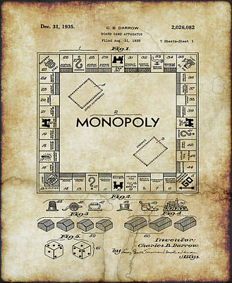 Digital Art - Original Patent For Monopoly Board Game by Doc Braham
