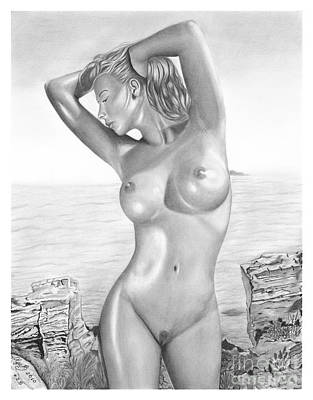 Original Pencil Drawing Nude Girl Www.olgabell.ca Art Print by Olga Bell