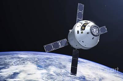 Crew Digital Art - Orion Module In Orbit Above Earth by Adrian Mann