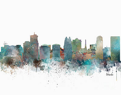 Painting - Orlando Florida Skyline by Bri B