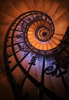 Mystery Door Photograph - Ornamented Spiral Staircase by Jaroslaw Blaminsky